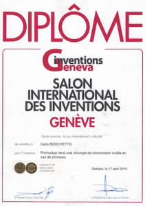 Phimostop: Gold Medallists at the 43° Exhibition of Inventions of Geneva 2015
